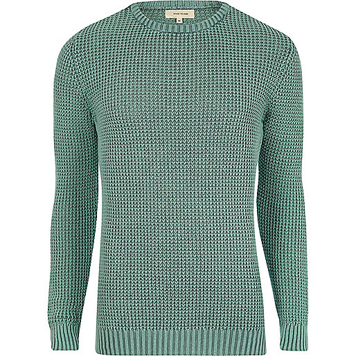 Light green acid wash slim fit knit jumper