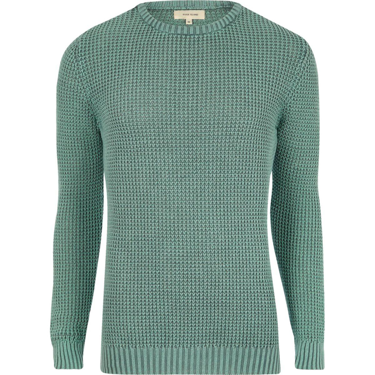 Light green acid wash slim fit knit jumper