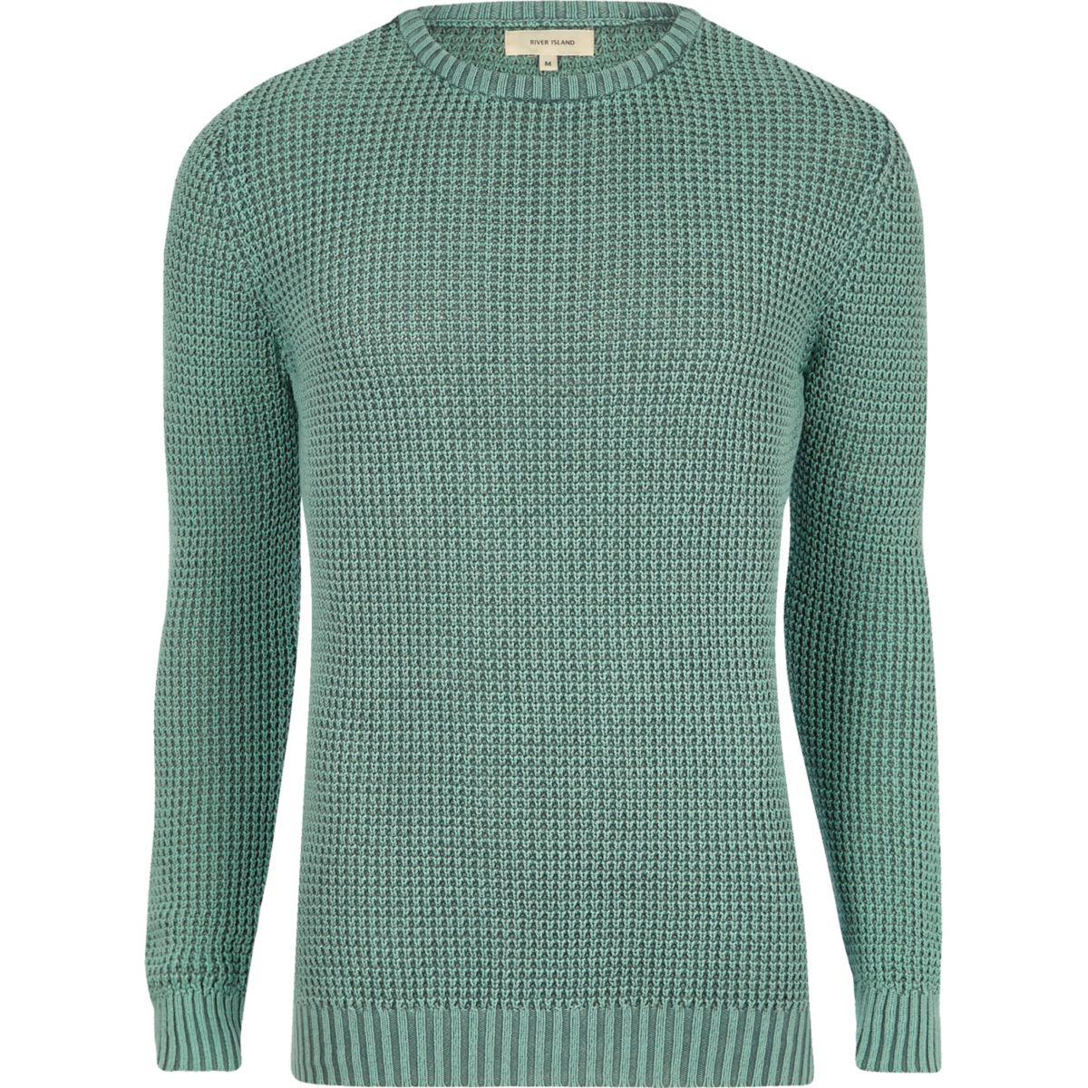 Light green acid wash slim fit knit sweater