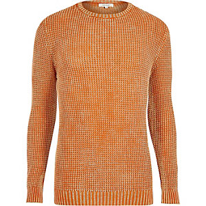 Orange textured waffle knit slim fit sweater