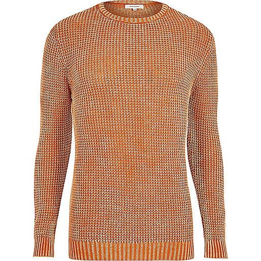 Orange acid wash slim fit knit jumper