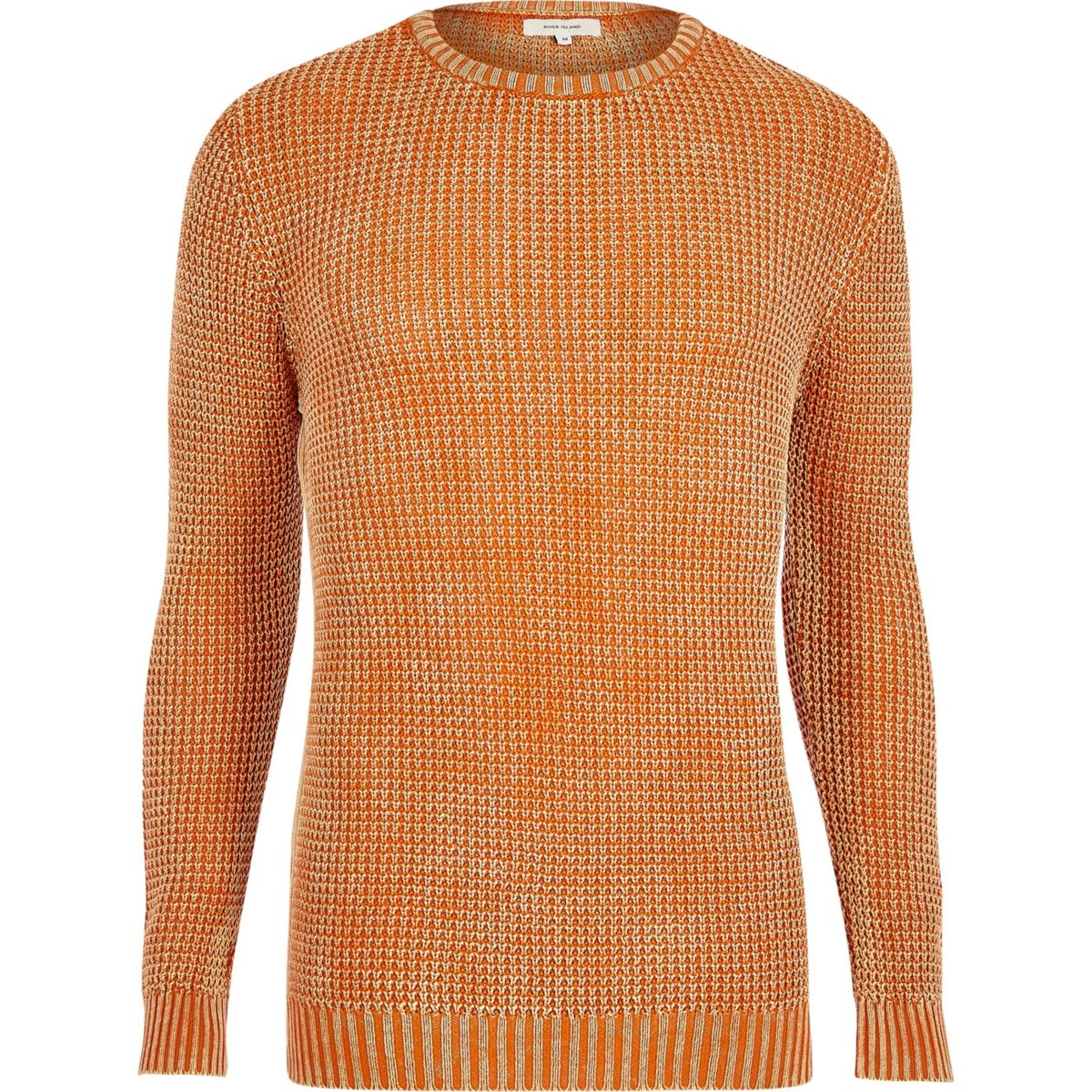 Orange acid wash slim fit knit sweater