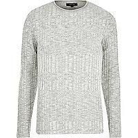 Grey ribbed knit skinny fit jumper