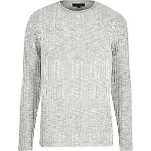 Kiezelkleurige geribbelde skinny-fit pullover