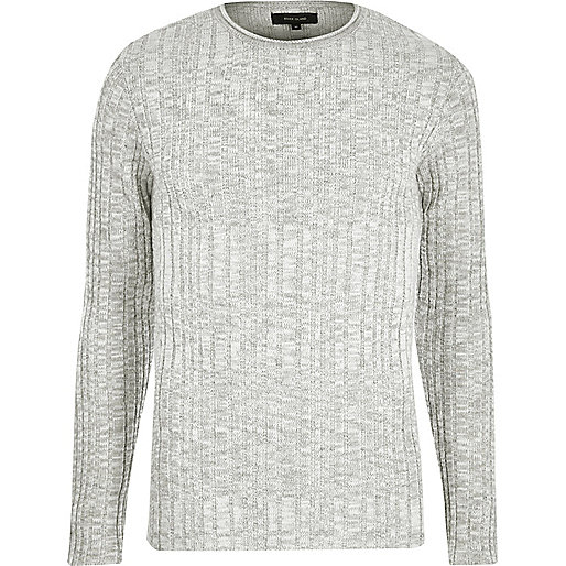 Grey ribbed knit skinny fit jumper