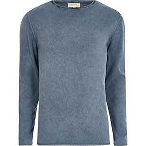 Blue washed slim fit jumper