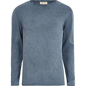 Slim Fit Pullover in blauer Waschung
