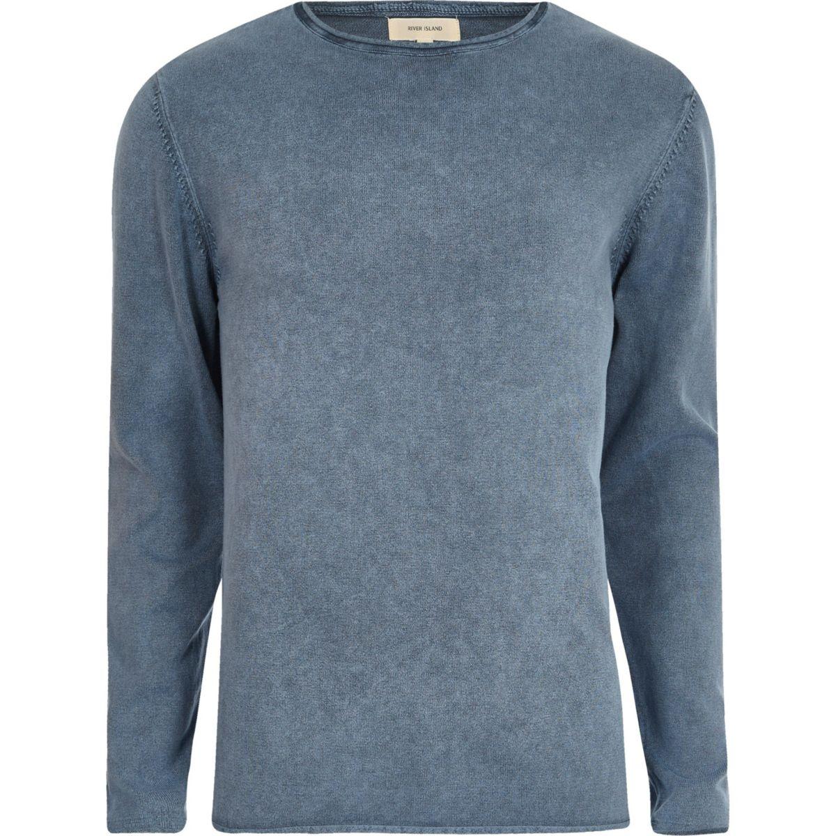 Blue washed slim fit jumper