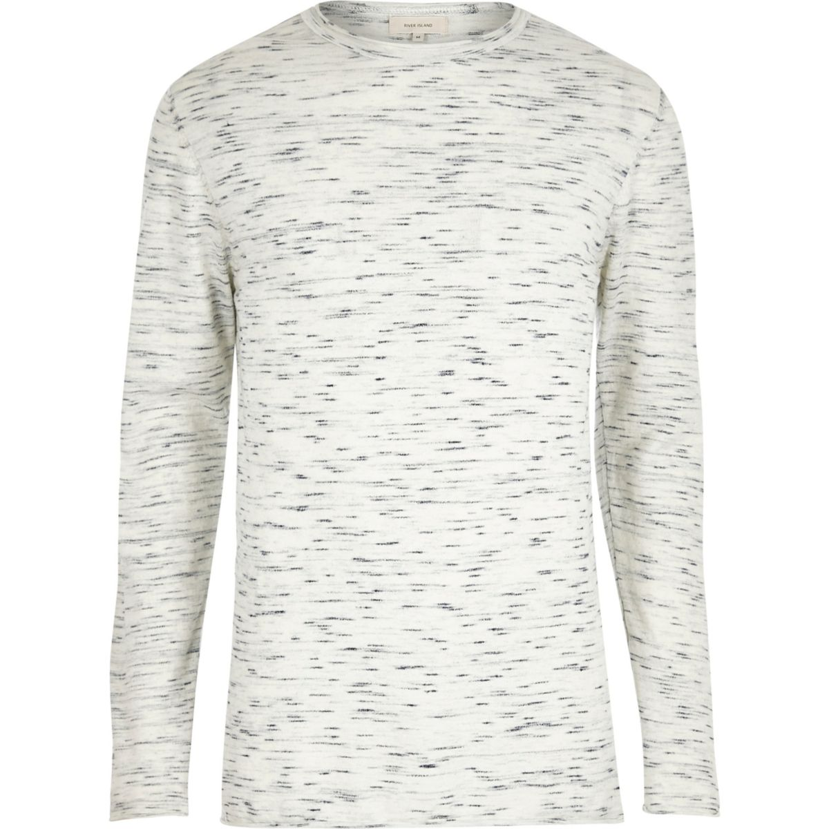 Cream space dye crew neck top