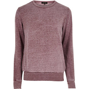 Rotes Sweatshirt mit Burnout-Kragen