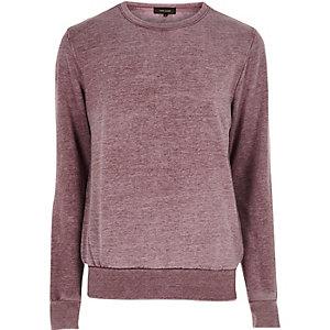 Rood burn-out sweatshirt met ronde hals