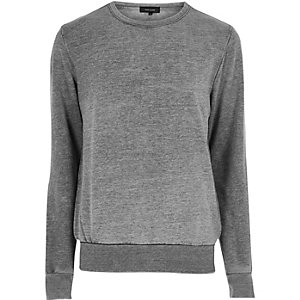 Charcoal burnout crew neck sweatshirt