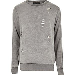 Graues Sweatshirt im Used-Look