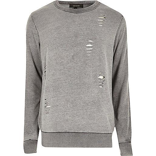 Grey distressed burnout sweatshirt