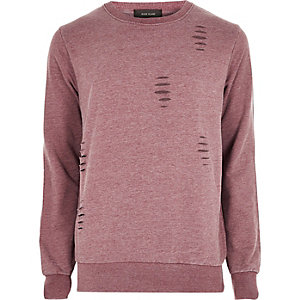 Red ripped crew neck sweatshirt