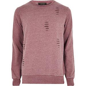 Rood ripped sweatshirt met ronde hals