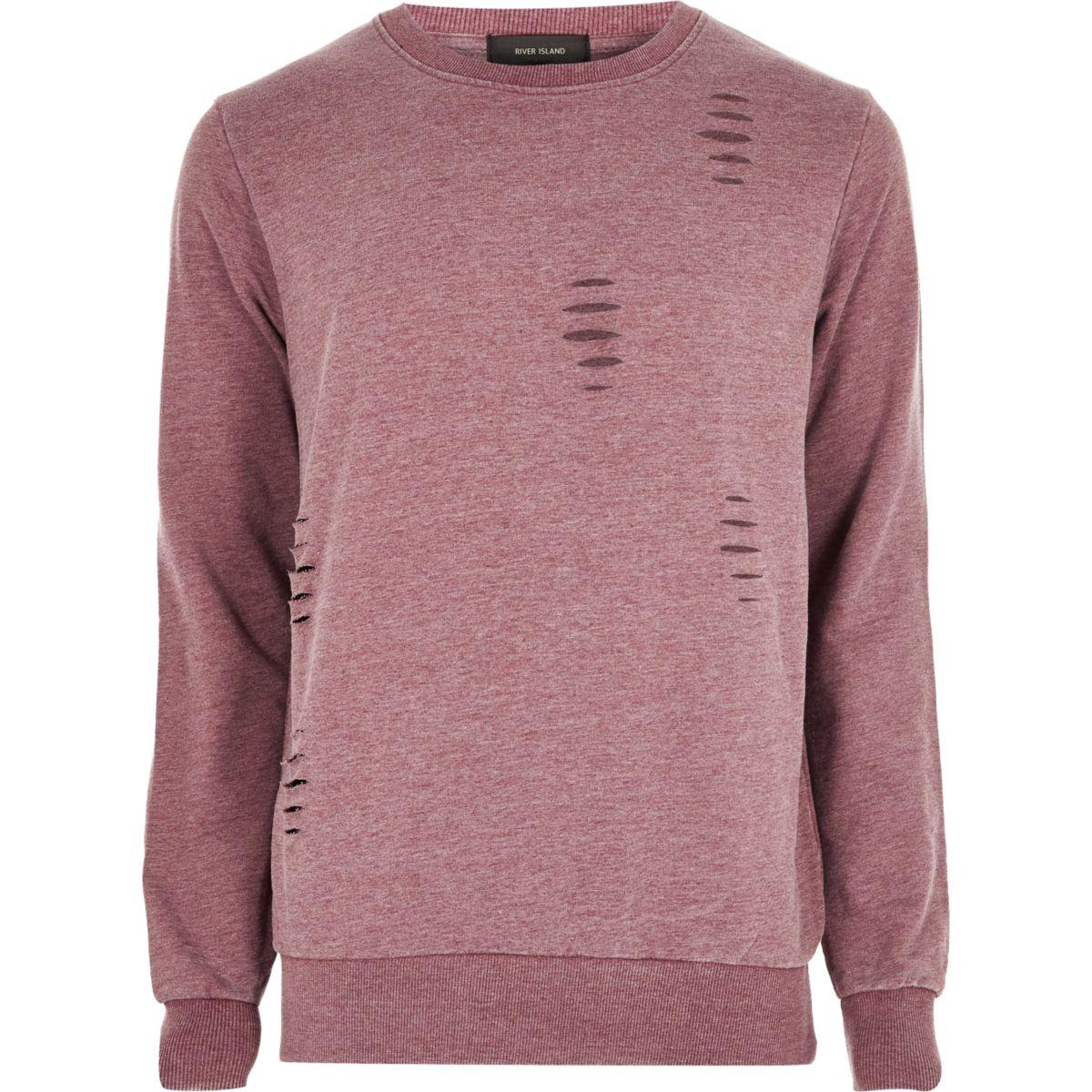Red ripped crew neck sweatshirt