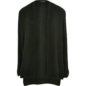 Dark green ribbed knit hooded cardigan