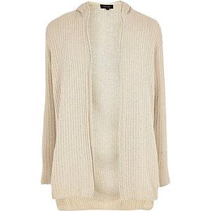 Stone ribbed knit hooded longline cardigan