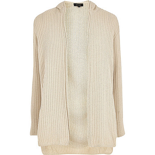 Stone ribbed knit hooded longline cardigan