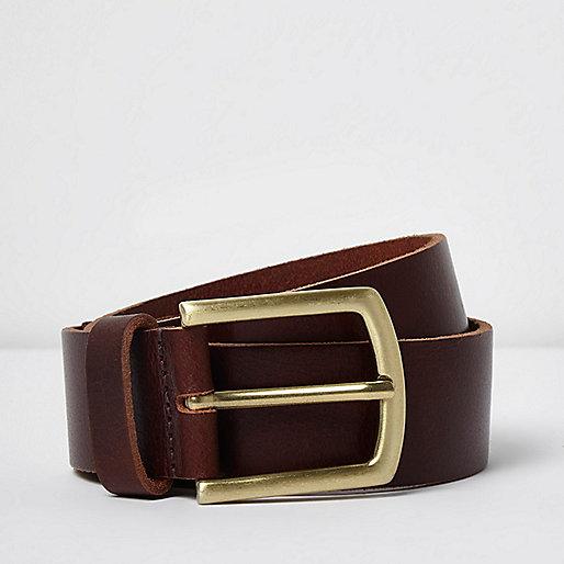 Brown leather stud belt