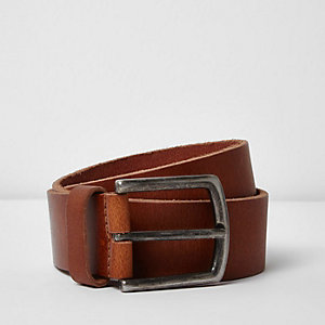 Tan leather stud belt