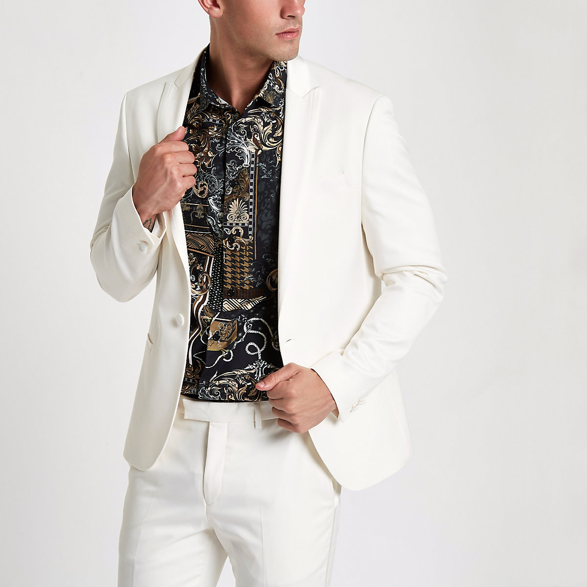 White peak lapel skinny fit suit jacket