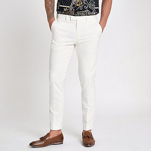 White satin trim skinny fit suit pants