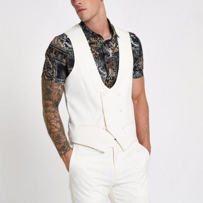 River Island Gilet de costume blanc à double boutonnage