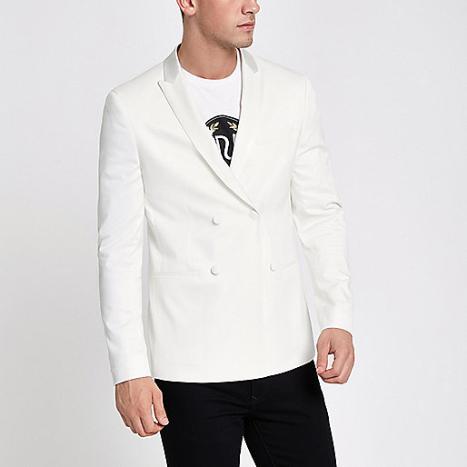 White double breasted skinny fit suit blazer