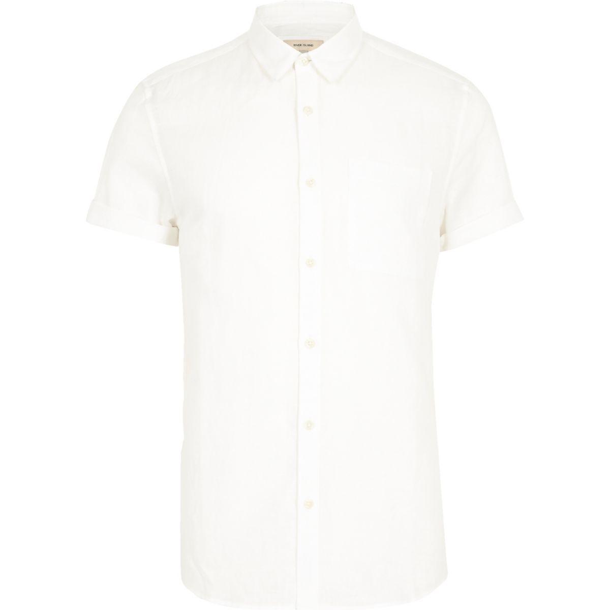 White linen blend short sleeve casual shirt