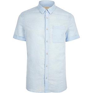 Light blue linen blend short sleeve shirt