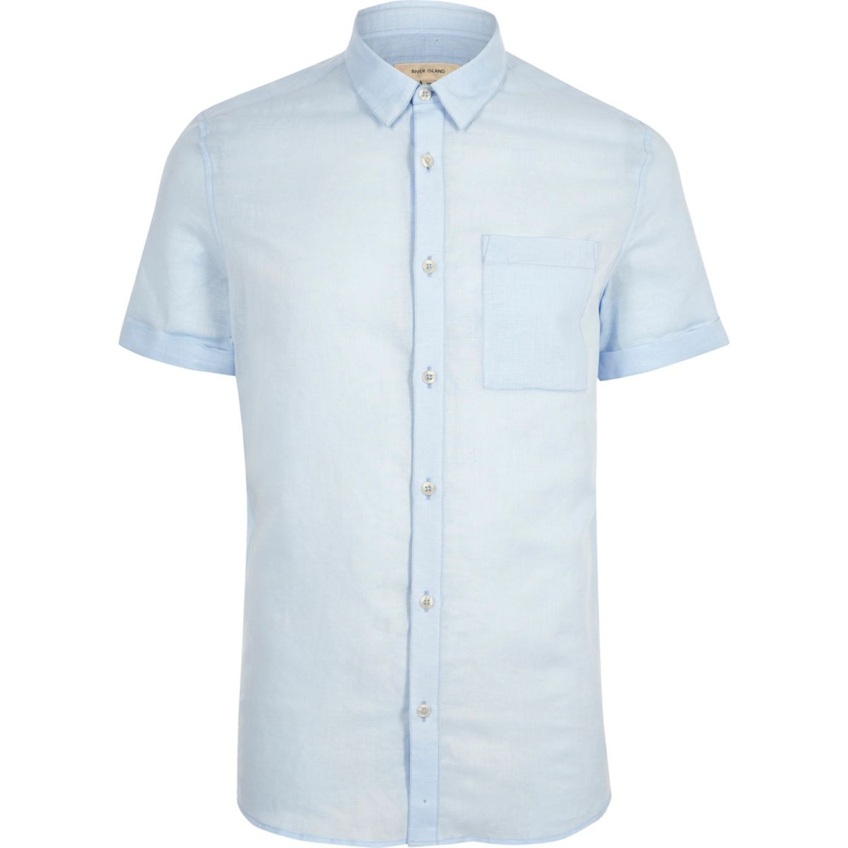 Light blue linen blend short sleeve shirt