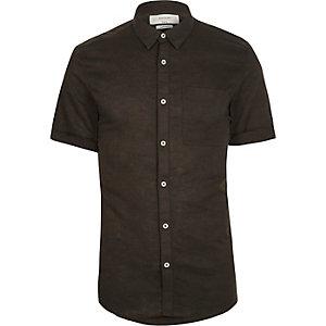 Kurzarmhemd in Khaki aus Leinenmischung