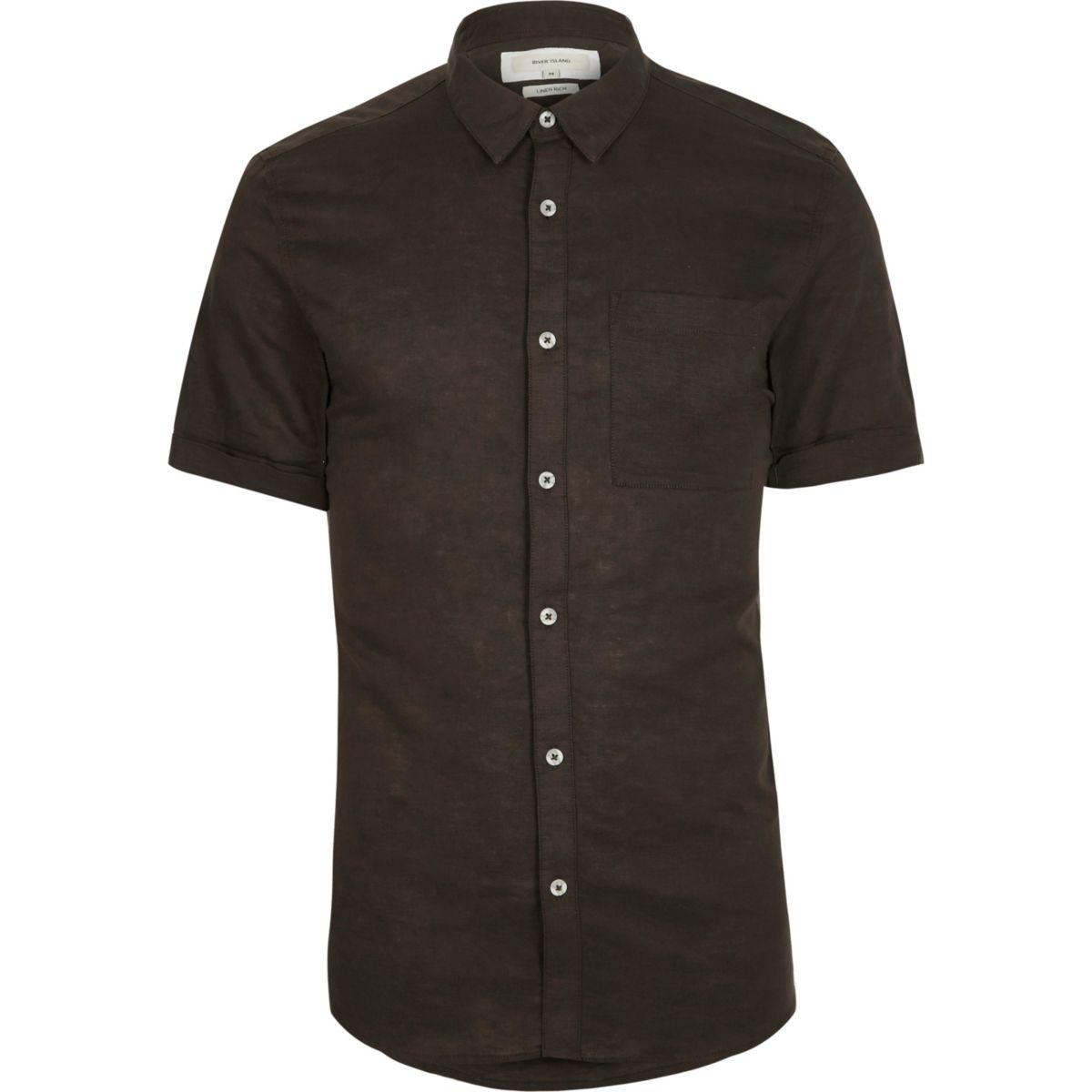 Khaki green linen blend short sleeve shirt