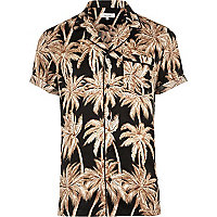 Black palm print short sleeve sateen shirt