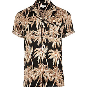 Black palm print short sleeve sateen shirt