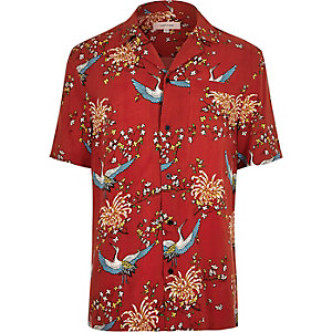 Red oriental print revere collar shirt