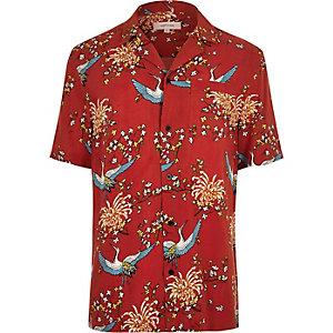 Chemise à imprimé oriental rouge col à revers