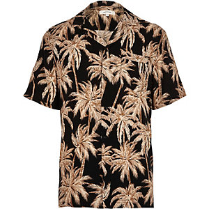 Black palm print short sleeve shirt