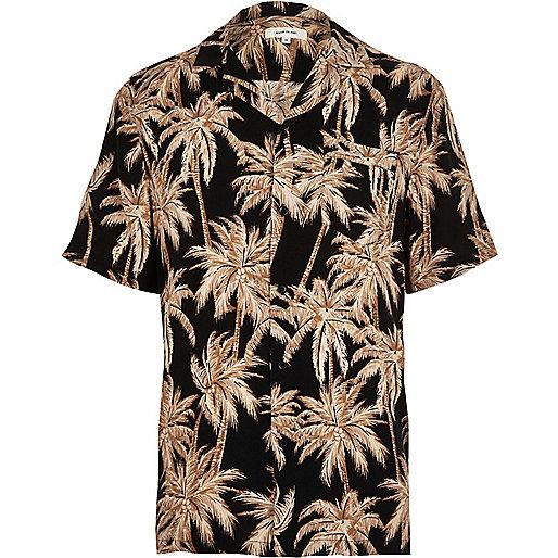 Black palm print short sleeve shirt