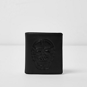 Black skull embossed wallet