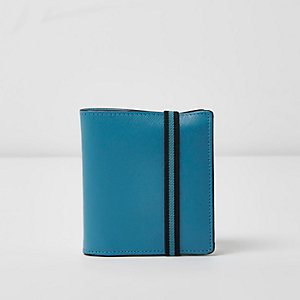 Portefeuille bleu à rabat et élastique