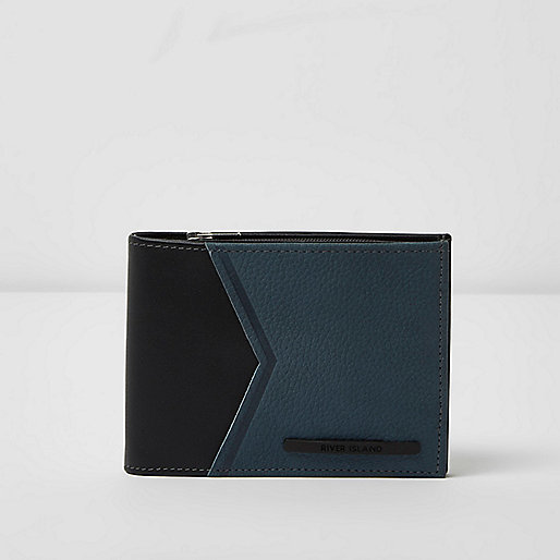 Blue leather chevron panel wallet