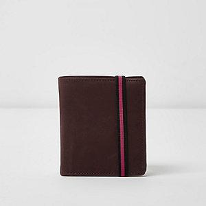 Portefeuille violet à rabat et élastique