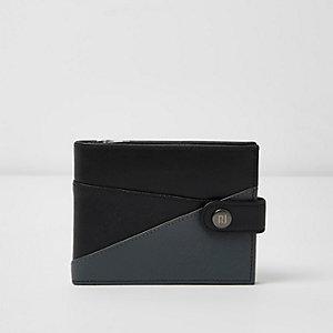 Black leather chevron color block wallet