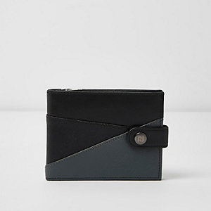 Black chevron color block wallet