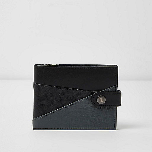 Black chevron color block wallet