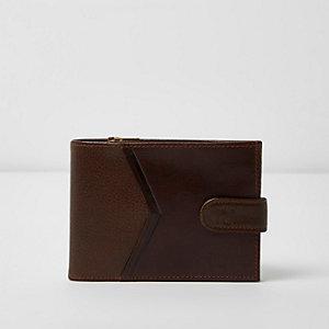 Brown leather chevron panel wallet