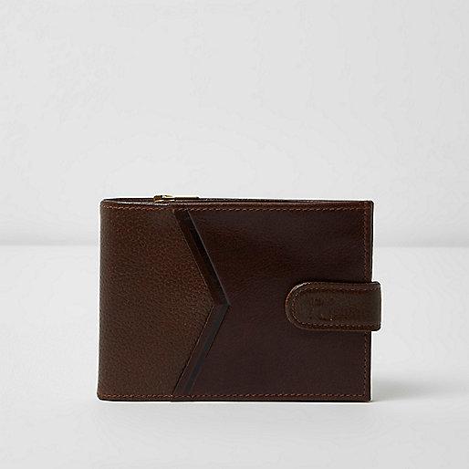 Brown chevron panel wallet